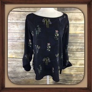 Ann Taylor Loft Black Silky Floral Blouse EUC